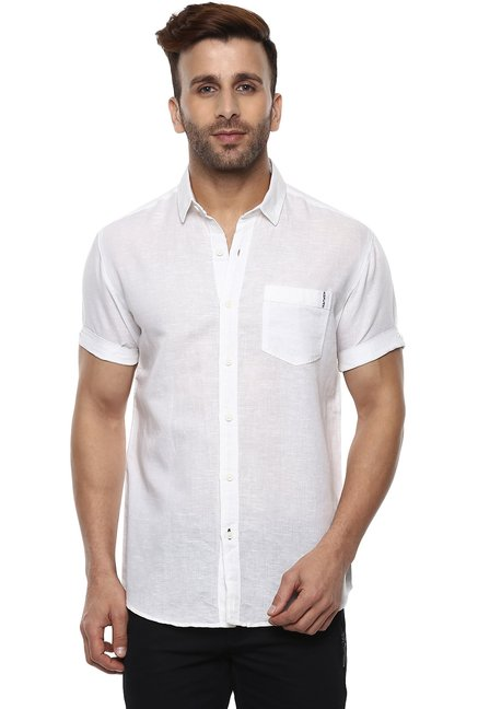 38480dbc Buy Mufti White Half Sleeves Shirt for Men Online @ Tata CLiQ