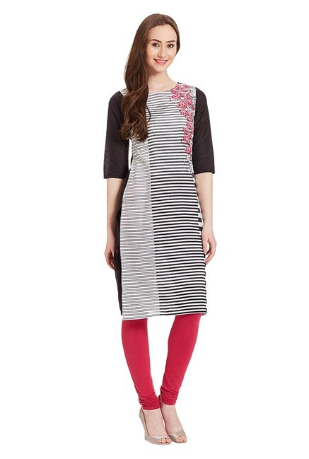 Aurelia & White Black Striped Cotton Kurta