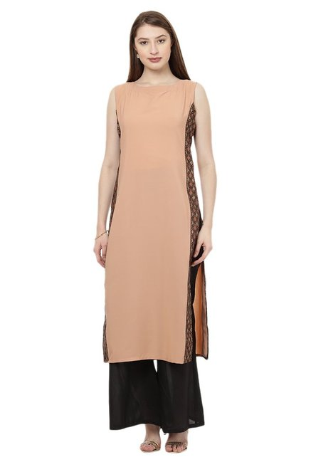 Ziyaa Beige Regular Fit Crepe Kurta