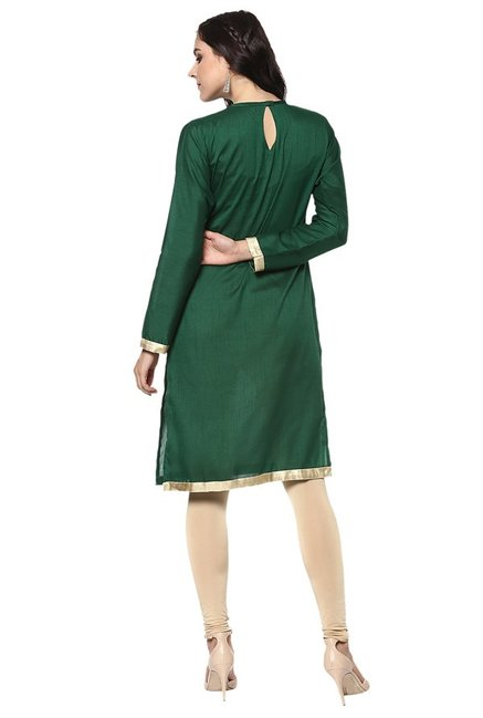 Ziyaa Green & Beige Poly Silk Kurta With Dupatta