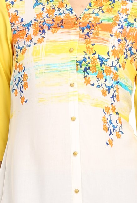 Aurelia & Off White Yellow Printed Viscose Kurta