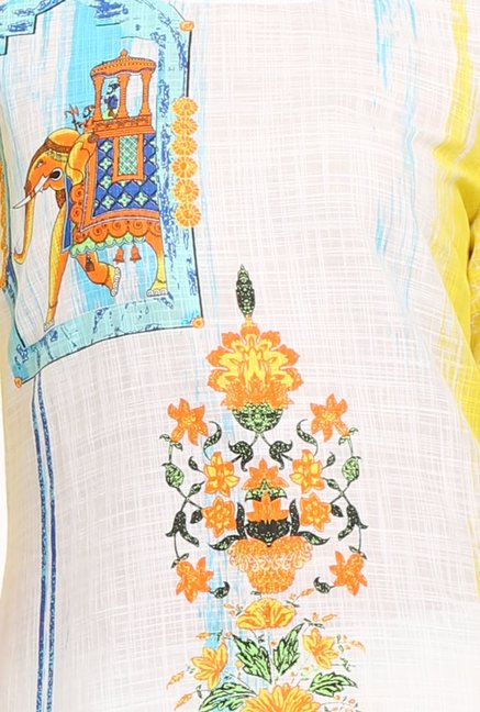 Aurelia & Off White Yellow Printed Cotton Kurta