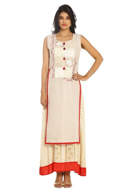 Soch Off White Printed Cotton Kurta