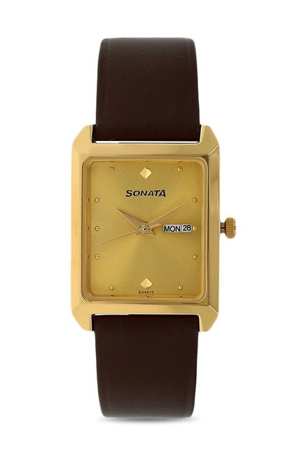 Sonata NG7007YL05 Yuva Analog Champagne Dial Men's Watch (NG7007YL05)