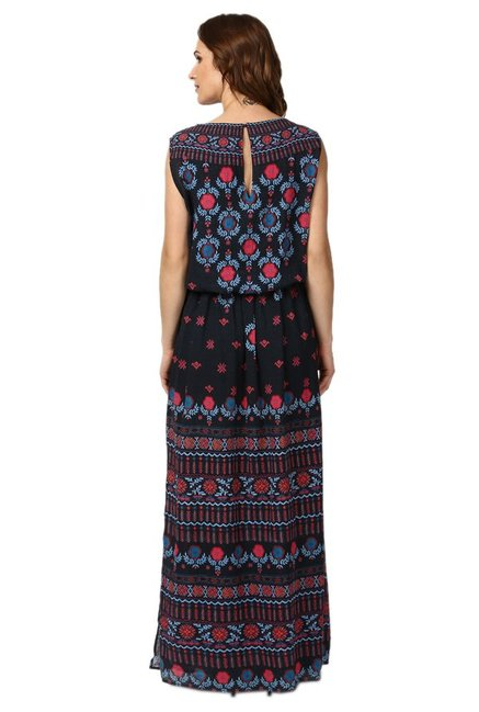 Label Ritu Kumar Black Printed Maxi Dress