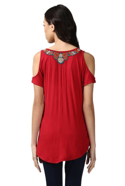 Label Ritu Kumar Red Printed Top
