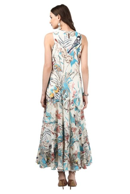 Label Ritu Kumar Off White Printed Maxi Dress