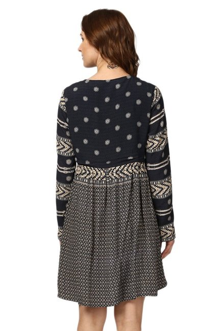 Label Ritu Kumar Grey Printed Above Knee Dress