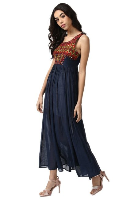 Label Ritu Kumar Navy Printed Maxi Dress