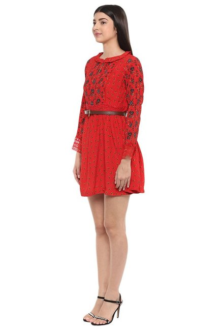 Label Ritu Kumar Red Printed Above Knee Dress