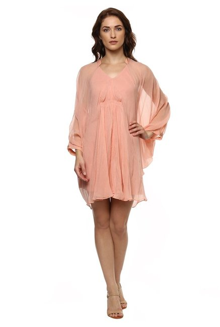 Label Ritu Kumar Peach Regular Fit Above Knee Dress