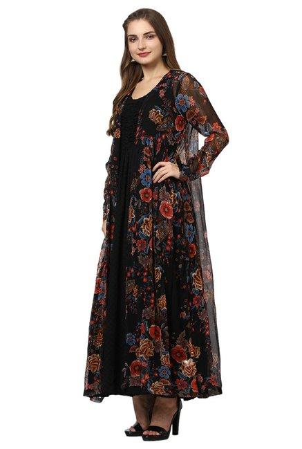 b5d03e1240 Buy Label Ritu Kumar Black Floral Print Long Shrug for Women Online ...