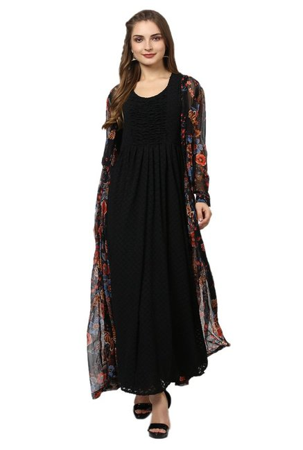 0d5dc50876d Buy Label Ritu Kumar Black Floral Print Long Shrug for Women Online ...