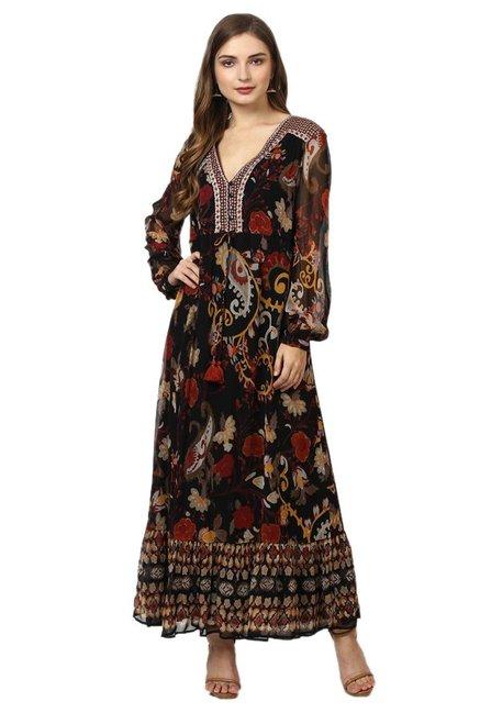 dbacdf39aa Buy Label Ritu Kumar Black Floral Print Maxi Dress for Women Online ...