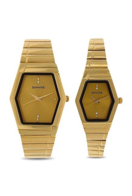 Sonata NK70838074YM02 Couple Analog Watch