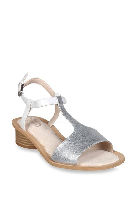 d219a35b460 Buy Clarks Silver   White T-Strap Sandals for Women at Best Price ...