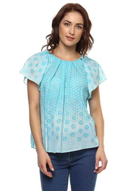 Label Ritu Kumar Turquoise Printed Top