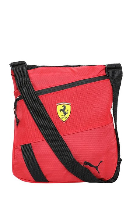 5cb07befc8d Buy Puma Ferrari Fanwear Rosso Corsa   Black Textured Sling Bag Online At  Best Price   Tata CLiQ
