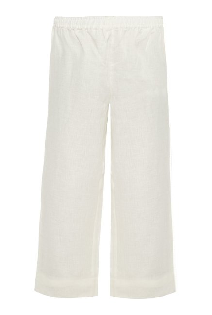 Zuba by Westside Off White Pure Linen Palazzos