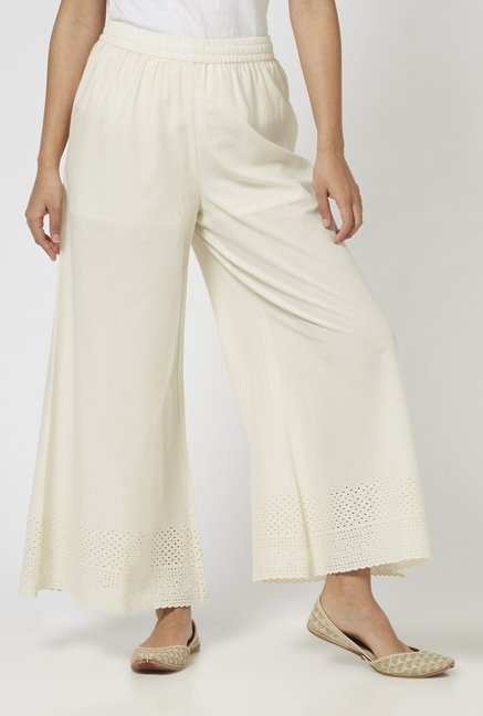 Zuba by Westside Off White Pure Cotton Palazzos
