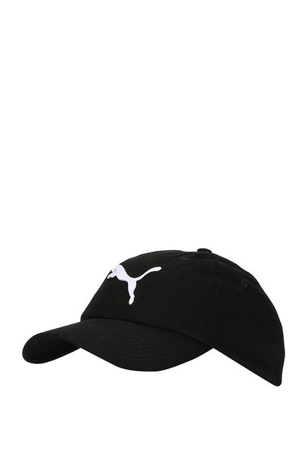 Puma ESS Black Solid Cotton Summer Cap