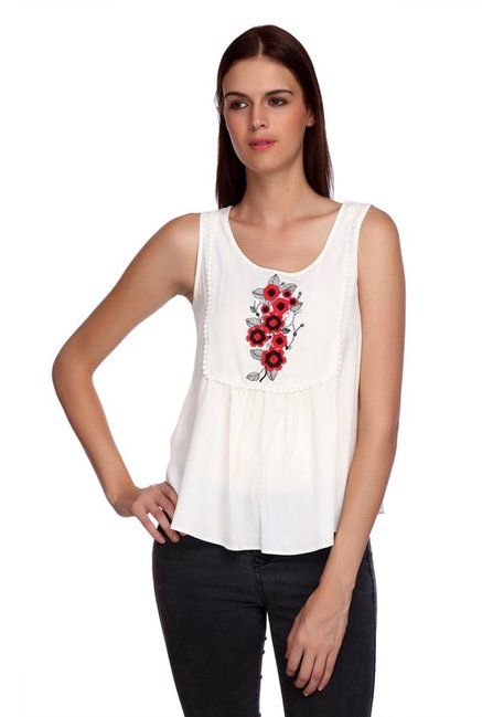Mineral Ecru Embroidered Top