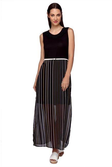 a537f9f94b3e5 Buy Mineral Black Striped Maxi Dress for Women Online   Tata CLiQ