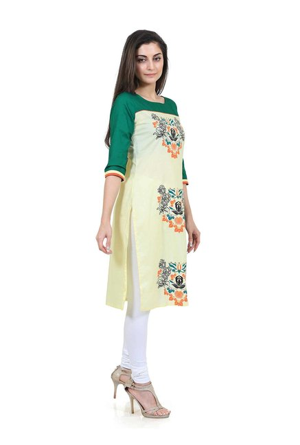 Mytri Yellow & Green Printed Straight Kurta