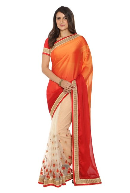 931769ba4 Buy Soch Off White   Orange Chiffon Half   Half Saree for Women ...