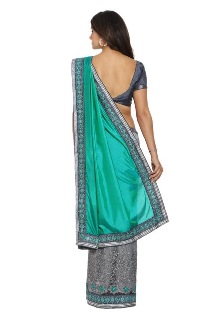 Soch Grey & Green Embroidered Silk Half & Half Saree