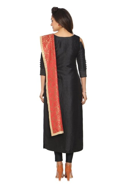 Soch Black Embroidered Silk Kurta With Churidar