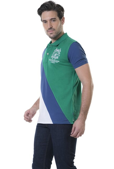 BHPC Green & Blue Half Sleeves Sport Fit Polo T-Shirt