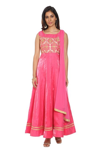Soch Pink Embroidered Silk Anarkali Kurta With Churidar