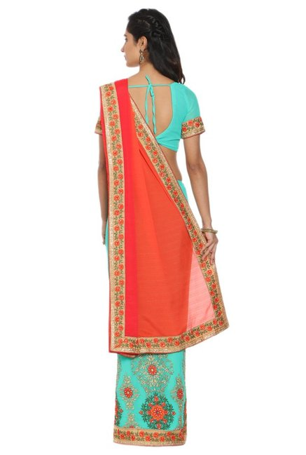 Soch Blue & Red Embroidered Georgette Half & Half Saree