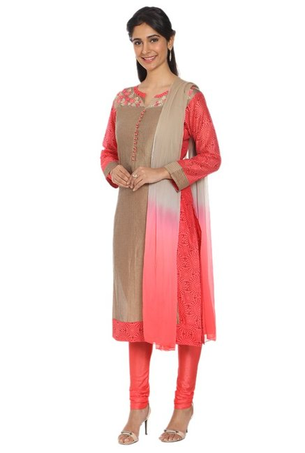Soch Beige Embroidered Chanderi Kurta With Churidar