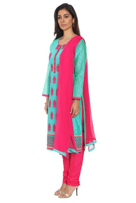 Soch Turquoise & Pink Chanderi Kurta With Churidar