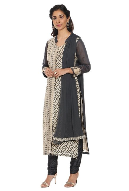 Soch Beige & Grey Printed Chanderi Kurta With Churidar
