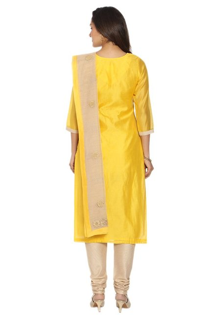 Soch Yellow & Beige Chanderi Kurta With Churidar