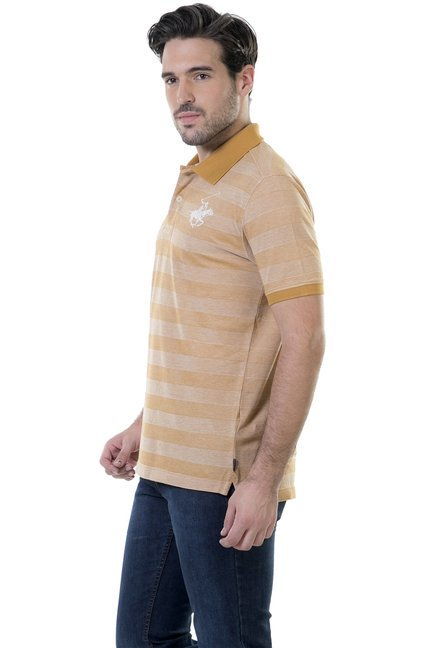 BHPC Beige Striped Cotton Polo T-Shirt