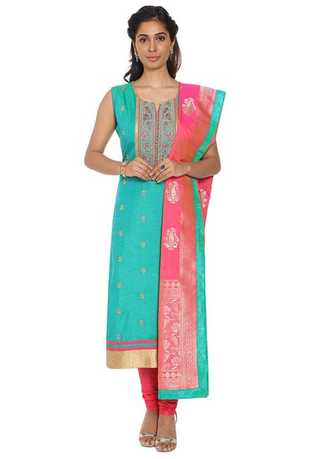 Soch Green & Pink Chanderi Kurta With Churidar