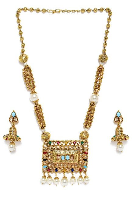 132d9809c Buy Tipsyfly Golden Alloy Navratna Pendant Matinee Necklace Set for ...