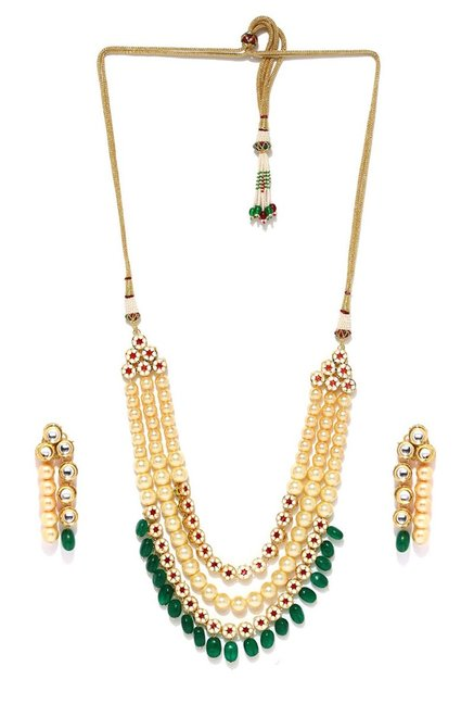 860b6a534 Buy Tipsyfly Golden Alloy The Gayatri Lariat Necklace Set for Women At Best  Price @ Tata CLiQ