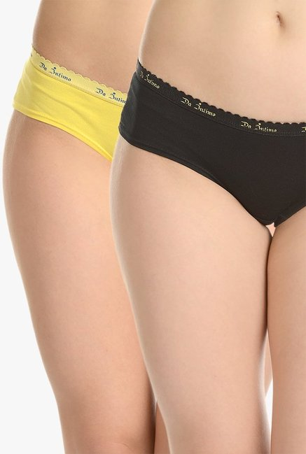 812b9fd35 Buy Da Intimo Black   Yellow Hipster Panty (Pack Of 2) for Women Online    Tata CLiQ