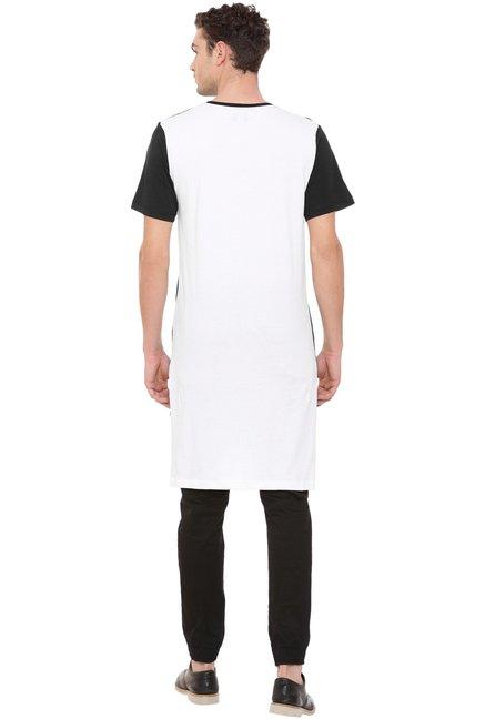50de5d33 Buy Kultprit Black & White Round Neck Longline T-Shirt for Men ...
