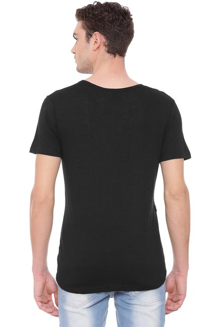 Kultprit Black Cotton Raglan Sleeves T-Shirt