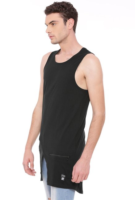 Kultprit Black Round Neck Cotton Vest