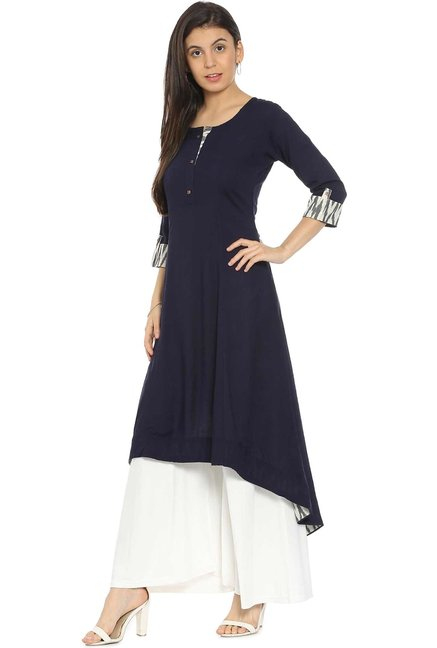 Soch Navy Regular Fit Rayon Kurta