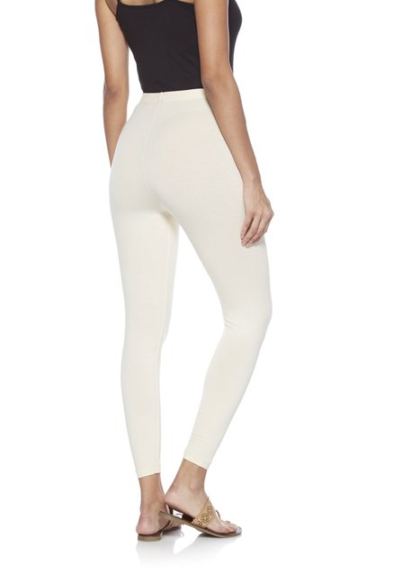 Utsa by Westside Off White Cropped Leggings