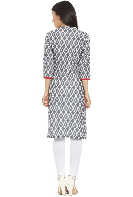 Soch White & Grey Printed Cotton Kurta