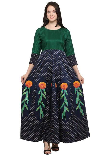 Ahalyaa Green & Navy Printed Poly Silk Anarkali Kurta
